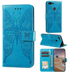 Intricate Embossing Rose Flower Butterfly Leather Wallet Case for Huawei Honor 7s - Blue