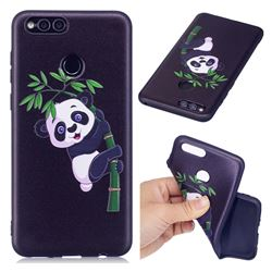 Bamboo Panda 3D Embossed Relief Black Soft Back Cover for Huawei Honor 7X