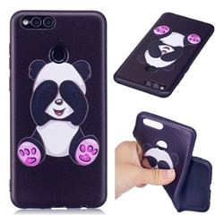 Lovely Panda 3D Embossed Relief Black Soft Back Cover for Huawei Honor 7X