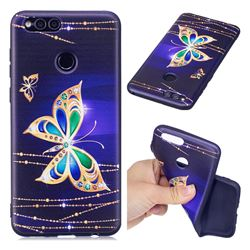 Golden Shining Butterfly 3D Embossed Relief Black Soft Back Cover for Huawei Honor 7X