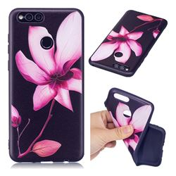 Lotus Flower 3D Embossed Relief Black Soft Back Cover for Huawei Honor 7X
