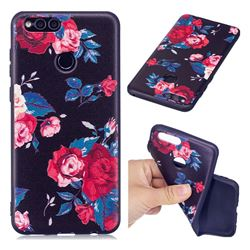 Safflower 3D Embossed Relief Black Soft Back Cover for Huawei Honor 7X