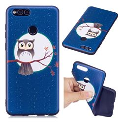 Moon and Owl 3D Embossed Relief Black Soft Back Cover for Huawei Honor 7X