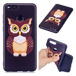 Big Owl 3D Embossed Relief Black Soft Back Cover for Huawei Honor 7X
