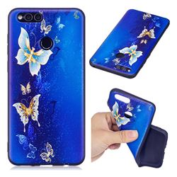Golden Butterflies 3D Embossed Relief Black Soft Back Cover for Huawei Honor 7X