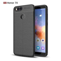 Luxury Auto Focus Litchi Texture Silicone TPU Back Cover for Huawei Honor 7X - Black