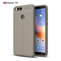 Luxury Auto Focus Litchi Texture Silicone TPU Back Cover for Huawei Honor 7X - Gray