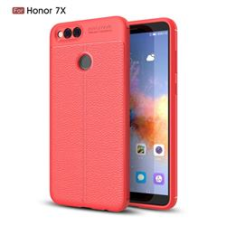 Luxury Auto Focus Litchi Texture Silicone TPU Back Cover for Huawei Honor 7X - Red