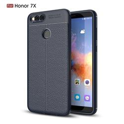 Luxury Auto Focus Litchi Texture Silicone TPU Back Cover for Huawei Honor 7X - Dark Blue