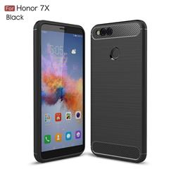 Luxury Carbon Fiber Brushed Wire Drawing Silicone TPU Back Cover for Huawei Honor 7X - Black