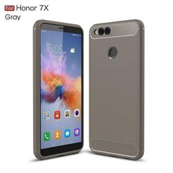 Luxury Carbon Fiber Brushed Wire Drawing Silicone TPU Back Cover for Huawei Honor 7X - Gray