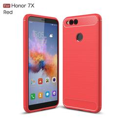 Luxury Carbon Fiber Brushed Wire Drawing Silicone TPU Back Cover for Huawei Honor 7X - Red