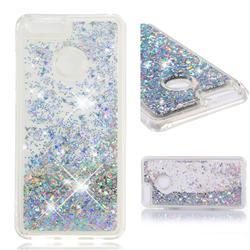 Dynamic Liquid Glitter Quicksand Sequins TPU Phone Case for Huawei Honor 7X - Silver