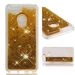 Dynamic Liquid Glitter Quicksand Sequins TPU Phone Case for Huawei Honor 7X - Golden