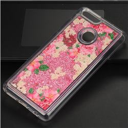 Rose Flower Glassy Glitter Quicksand Dynamic Liquid Soft Phone Case for Huawei Honor 7X