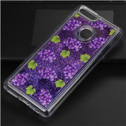 Purple Grape Glassy Glitter Quicksand Dynamic Liquid Soft Phone Case for Huawei Honor 7X