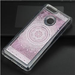Mandala Glassy Glitter Quicksand Dynamic Liquid Soft Phone Case for Huawei Honor 7X
