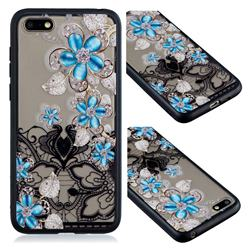 Lilac Lace Diamond Flower Soft TPU Back Cover for Huawei Honor 7X