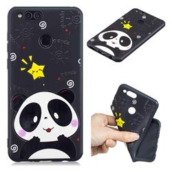 Cute Bear 3D Embossed Relief Black TPU Cell Phone Back Cover for Huawei Honor 7X