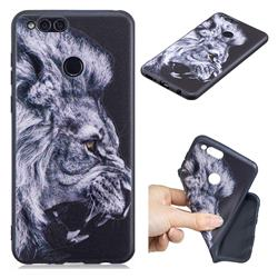 Lion 3D Embossed Relief Black TPU Cell Phone Back Cover for Huawei Honor 7X