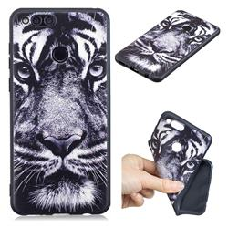 White Tiger 3D Embossed Relief Black TPU Cell Phone Back Cover for Huawei Honor 7X