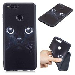 Bearded Feline 3D Embossed Relief Black TPU Cell Phone Back Cover for Huawei Honor 7X