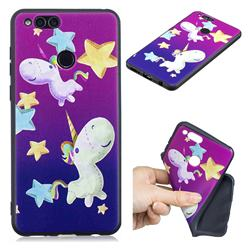 Pony 3D Embossed Relief Black TPU Cell Phone Back Cover for Huawei Honor 7X