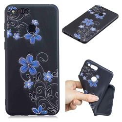 Little Blue Flowers 3D Embossed Relief Black TPU Cell Phone Back Cover for Huawei Honor 7X