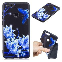 Blue Butterfly 3D Embossed Relief Black TPU Cell Phone Back Cover for Huawei Honor 7X