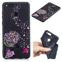 Corolla Girl 3D Embossed Relief Black TPU Cell Phone Back Cover for Huawei Honor 7X