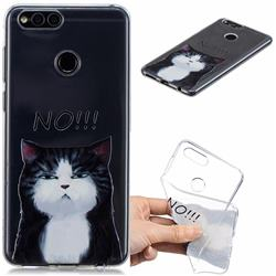 Cat Say No Clear Varnish Soft Phone Back Cover for Huawei Honor 7X