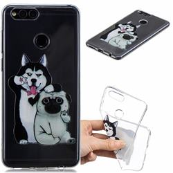Selfie Dog Clear Varnish Soft Phone Back Cover for Huawei Honor 7X