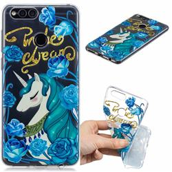 Blue Flower Unicorn Clear Varnish Soft Phone Back Cover for Huawei Honor 7X