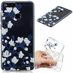 Magnolia Flower Clear Varnish Soft Phone Back Cover for Huawei Honor 7X
