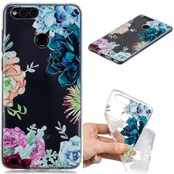 Gem Flower Clear Varnish Soft Phone Back Cover for Huawei Honor 7X