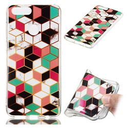 Three-dimensional Square Soft TPU Marble Pattern Phone Case for Huawei Honor 7X
