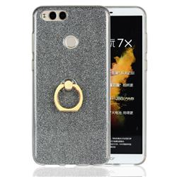 Luxury Soft TPU Glitter Back Ring Cover with 360 Rotate Finger Holder Buckle for Huawei Honor 7X - Black