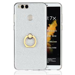 Luxury Soft TPU Glitter Back Ring Cover with 360 Rotate Finger Holder Buckle for Huawei Honor 7X - White