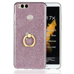 Luxury Soft TPU Glitter Back Ring Cover with 360 Rotate Finger Holder Buckle for Huawei Honor 7X - Pink