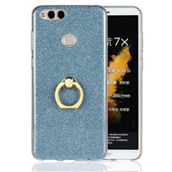 Luxury Soft TPU Glitter Back Ring Cover with 360 Rotate Finger Holder Buckle for Huawei Honor 7X - Blue