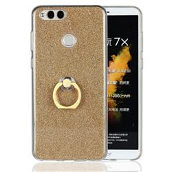 Luxury Soft TPU Glitter Back Ring Cover with 360 Rotate Finger Holder Buckle for Huawei Honor 7X - Golden