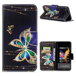 Golden Shining Butterfly Leather Wallet Case for Huawei Honor 7X