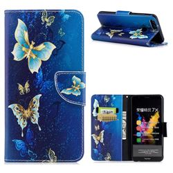 Golden Butterflies Leather Wallet Case for Huawei Honor 7X