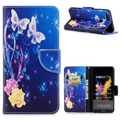 Yellow Flower Butterfly Leather Wallet Case for Huawei Honor 7X