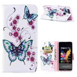 Peach Butterflies Leather Wallet Case for Huawei Honor 7X