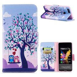 Tree and Owls Leather Wallet Case for Huawei Honor 7X