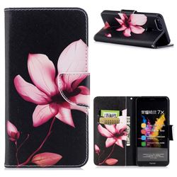 Lotus Flower Leather Wallet Case for Huawei Honor 7X