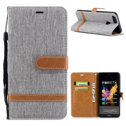 Jeans Cowboy Denim Leather Wallet Case for Huawei Honor 7X - Gray