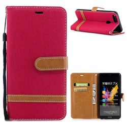 Jeans Cowboy Denim Leather Wallet Case for Huawei Honor 7X - Red