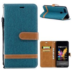 Jeans Cowboy Denim Leather Wallet Case for Huawei Honor 7X - Green